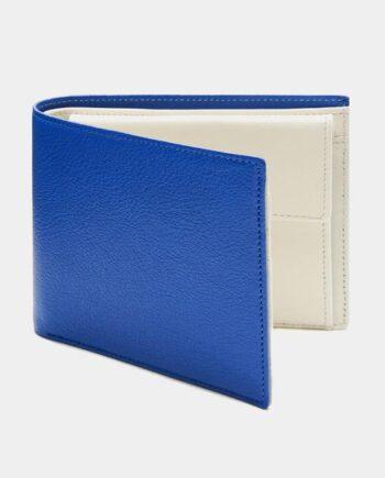 ブルーとアイボリーのメンズ二つ折り財布